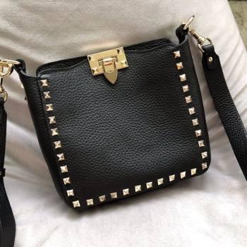Valentino Mini Grainy Calfskin Leather Rockstud Hobo Bag 50031 Black/Gold 2020 (JD-20112758)