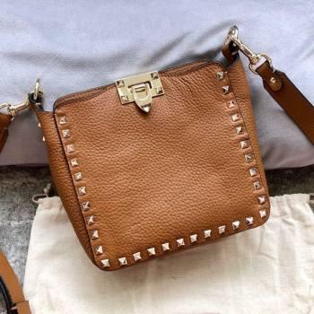 Valentino Mini Grainy Calfskin Leather Rockstud Hobo Bag 50031 Brown 2020 (JD-20112759)