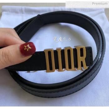 Dior Width 2cm Calfskin Belt With DIOR Buckle Black 05 2020 (99-20050412)