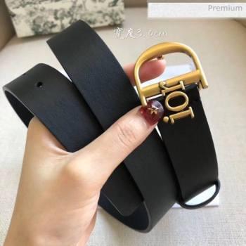 Dior Width 3cm Calfskin Belt With Special Dior Buckle 10 Black 2020 (99-20050418)