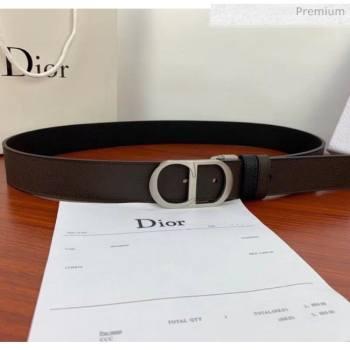 Dior Width 3.5cm Reversible Calfskin Belt With Silver CD Buckle Black/Deep Grey 2020 (99-20050426)