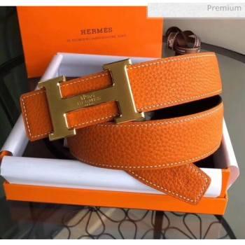 Hermes Width 3.8cm Grainy Calfskin Belt With H Buckle Orange/Black 2020 (99-20050509)