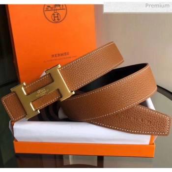 Hermes Width 3.8cm Grainy Calfskin Belt With H Buckle Brown/Black 2020 (99-20050510)