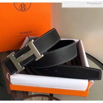 Hermes Width 3.8cm Grainy Calfskin Belt With H Buckle Black 2020 (99-20050514)