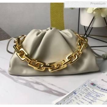 Bottega Veneta Small The Chain Pouch Clutch Bag With Square Ring Chain Off-White 2020 (MS-20050540)
