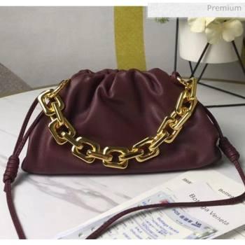 Bottega Veneta Small The Chain Pouch Clutch Bag With Square Ring Chain Burgundy 2020 (MS-20050541)
