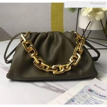 Bottega Veneta Small The Chain Pouch Clutch Bag With Square Ring Chain Mustard Green 2020 (MS-20050542)