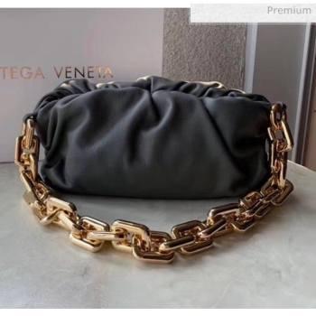 Bottega Veneta The Chain Pouch Clutch Bag With Square Ring Chain Deep Gray 2020 (MS-20050545)