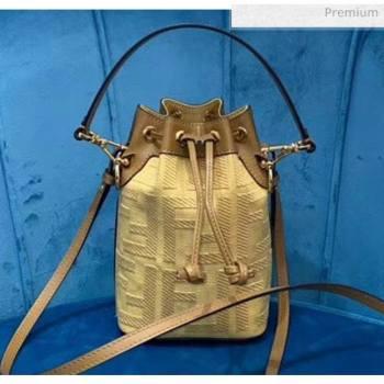 Fendi FF Embroidered Mon Tresor Mini Bucket Bag Yellow 2020 Top Quality (CL-20050712)
