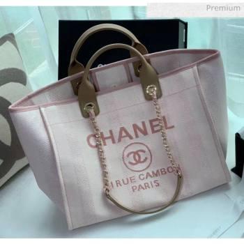 Chanel Mixed Fibers And Calfskin Shopping Bag A66941 Pink 2020 (X-20050747)