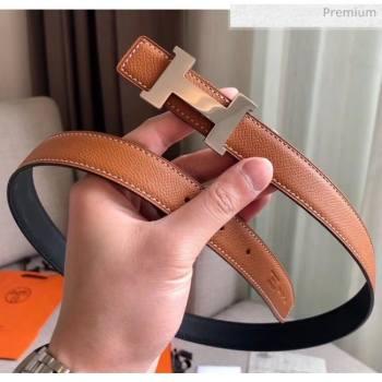 Hermes Width 2.4cm Grained Calfskin Reversible Belt Black/Brown 2020 (PJ-20050801)