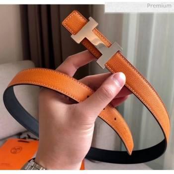 Hermes Width 2.4cm Grained Epsom Calfskin Reversible Belt Orange/Silver 2020 (PJ-20050845)