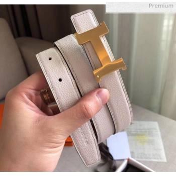 Hermes Width 2.4cm Grained Calfskin Reversible Belt White/Gold 2020 (PJ-20050849)