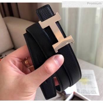 Hermes Width 2.4cm Grained Calfskin Reversible Belt Black/Silver 2020 (PJ-20050853)