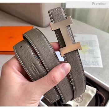 Hermes Width 2.4cm Grained Calfskin Reversible Belt Grey/Silver 2020 (PJ-20050852)