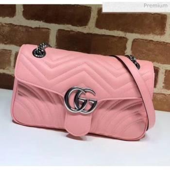 Gucci GG Marmont Matelassé Small Shoulder Bag 443497 Pastel Pink 2020 (DLH-20051110)