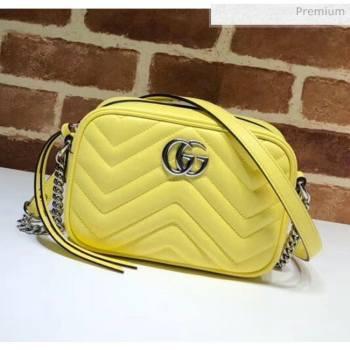 Gucci GG Marmont Matelassé Mini Shoulder Bag 448065 Pastel Yellow 2020 (DLH-20051143)