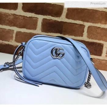 Gucci GG Marmont Matelassé Mini Shoulder Bag 448065 Pastel Blue 2020 (DLH-20051145)