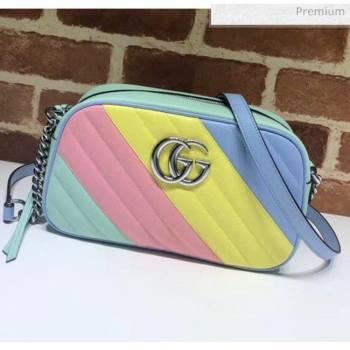 Gucci GG Marmont Matelassé Small Shoulder Bag 447632 Multicolored Pastel 2020 (DLH-20051146)