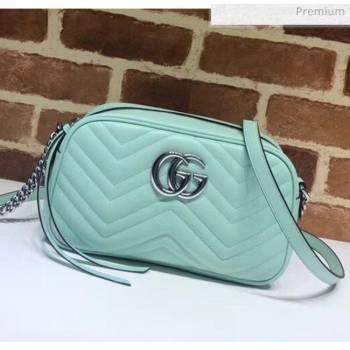 Gucci GG Marmont Matelassé Small Shoulder Bag 447632 Pastel Green 2020 (DLH-20051147)
