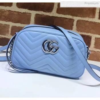 Gucci GG Marmont Matelassé Small Shoulder Bag 447632 Pastel Blue 2020 (DLH-20051148)
