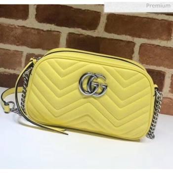 Gucci GG Marmont Matelassé Small Shoulder Bag 447632 Pastel Yellow 2020 (DLH-20051149)