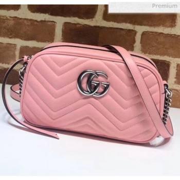 Gucci GG Marmont Matelassé Small Shoulder Bag 447632 Pastel Pink 2020 (DLH-20051150)