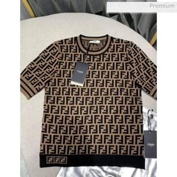 Fendi FF Knitted T-shirt F4 Brown 2020 (Q-20051228)