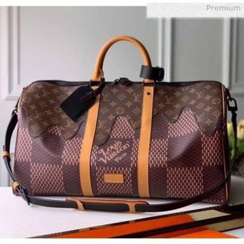 Louis Vuitton x Nigo Damier Monogram Canvas Keepall 50 Bag M49982 2020 (K-20051330)