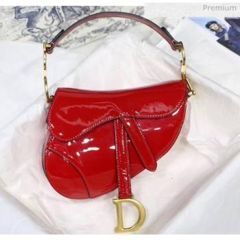 Dior Mini Saddle Bag in Patent Calfskin Red 2020 (XXG-2005136)