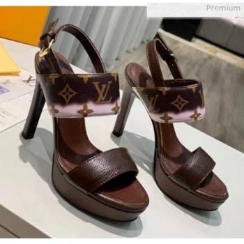 Louis Vuitton LV Escale Calfskin Platform Sandal With 10.5cm Heel Brown 2020 (MD-20052025)