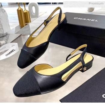 Chanel Lambskin & Grosgrain Flat Slingbacks Ballerina G31319 Black 2020 (DN-20052138)