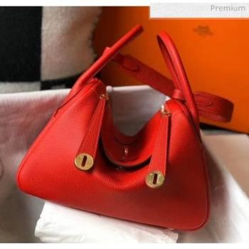 Hermes Lindy 30cm Bag In Togo Calfskin Leather Red 2020 (FL-20052904)