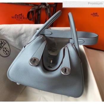 Hermes Lindy 30cm Bag In Togo Calfskin Leather Pale Blue 2020 (FL-20052906)