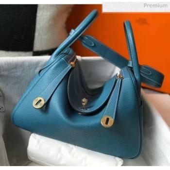 Hermes Lindy 30cm Bag In Togo Calfskin Leather Blue 2020 (FL-20052907)