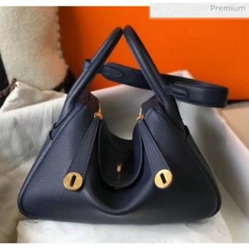 Hermes Lindy 30cm Bag In Togo Calfskin Leather Navy Blue 2020 (FL-20052911)