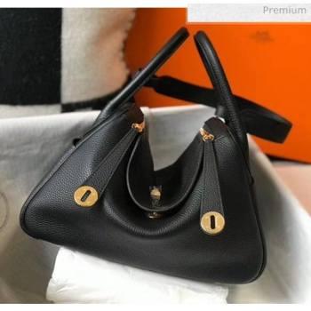 Hermes Lindy 30cm Bag In Togo Calfskin Leather Black 2020 (FL-20052915)