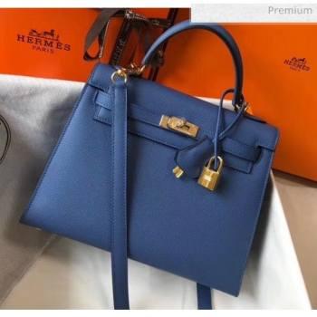 Hermes Kelly 25cm Top Handle Bag in Epsom Leather Blue 2020 (FL-20052916)