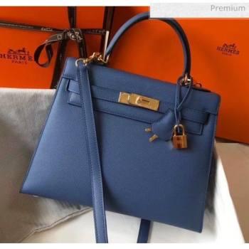 Hermes Kelly 28cm Top Handle Bag in Epsom Leather Blue 2020 (FL-20052917)