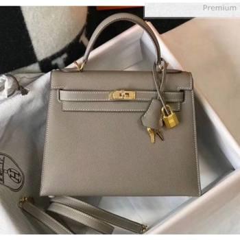 Hermes Kelly 25cm Top Handle Bag in Epsom Leather Asphalt Grey 2020 (FL-20052956)
