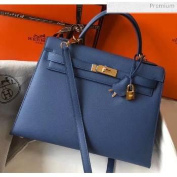 Hermes Kelly 32cm Top Handle Bag in Epsom Leather Blue 2020 (FL-20052918)