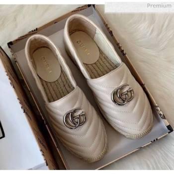 Gucci Matelassé Chevron Leather Espadrille 628086 Beige 2020 (HB-20053001)