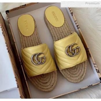 Gucci Matelassé Chevron Leather Espadrille Sandal 573028 Pastel Yellow 2020 (HB-20053011)
