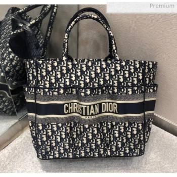 Dior Oblique Embroidery Catherine Tote Bag Deep Blue 2020 (XXG-20052727)
