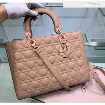 Dior Cannage Calfskin Large Lady Dior Bag Apricot 2020 (XXG-20052729)