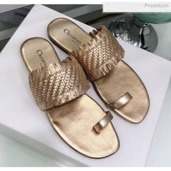 Dior Wave Sandal in Braided Lambskin Gold 2020 (JC-20060419)