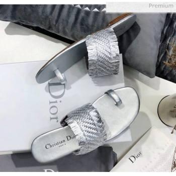 Dior Wave Sandal in Braided Lambskin Silver 2020 (JC-20060420)