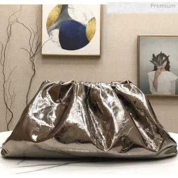 Bottega Veneta The Pouch Soft Oversize Clutch Bag in Metallic Leather Grey 2020 (MS-20060451)