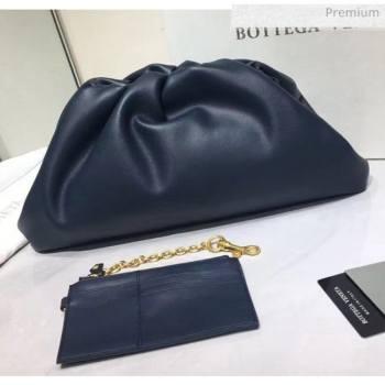 Bottega Veneta The Pouch Soft Voluminous Clutch Bag Navy Blue 2020 (MS-20060505)