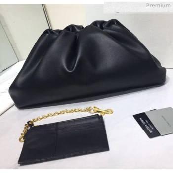 Bottega Veneta The Pouch Soft Voluminous Clutch Bag Black 2020 (MS-20060509)